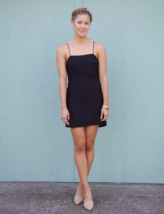 Nude Heels And Black Dress